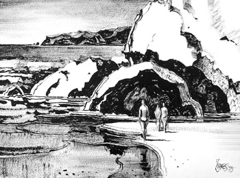 Sea Cave Sketch by Milford Zornes