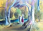 Walk By River - Milford Zornes