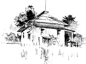 Shack sketch by Milford Zornes