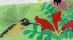 A paper-cut illustration of a hummingbird extracting nectar from a red flower.